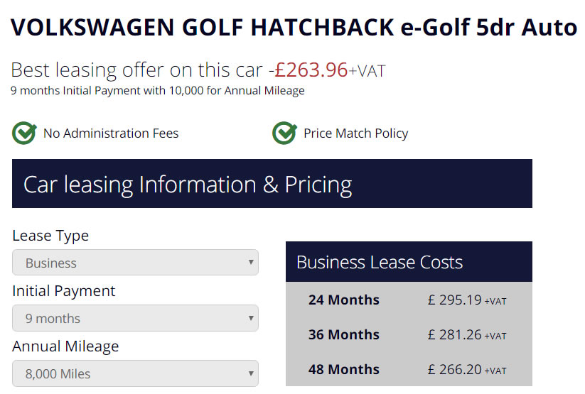 VW GTE Golf Lease